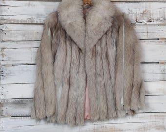 Vintage 70's Fur Leather Arctic Collared Coat Small
