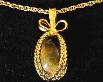 Joan Rivers Egg Necklace - Tiger's Eye Pendant                                        - S2441