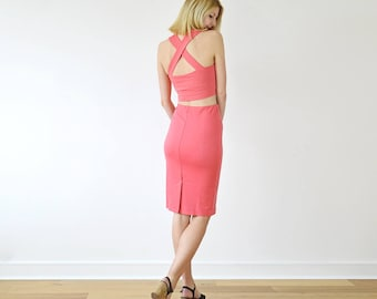 Kirsten Crop Top Two Piece Set with Jersey Bralette and High Waist Pencil Skirt Set in Coral Pink