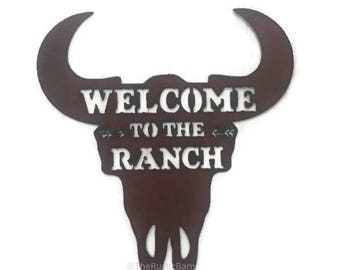 WELCOME to the RANCH Buffalo Skull Welcome Sign made of Rusty Rustic Recycled Metal
