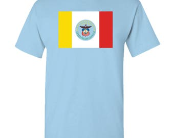 Columbus City Flag T Shirt - Light Blue