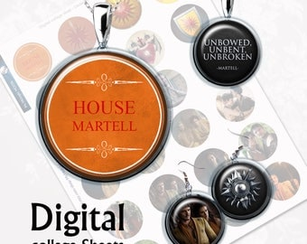 Game of Thrones House of Martel Digital Collage Sheet  1,5 inch, 1 inch, 15 mm Jewelry Supplies, Bottle Caps, Crafts, Scrapbooking