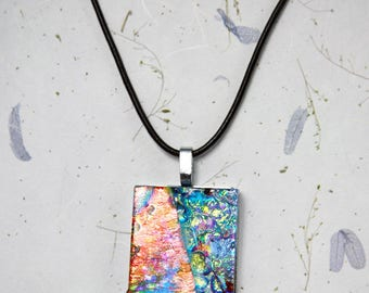Melting. Unique fused glass pendant. One of a kind.