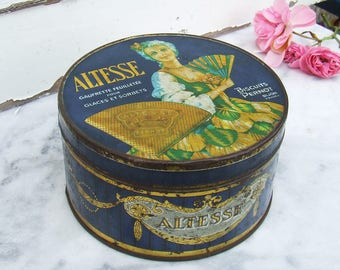 Vintage French Biscuit Tin, Cookie Tin, Wafer Tin, Altesse Biscuits Pernot Dijon, Lady with Fan