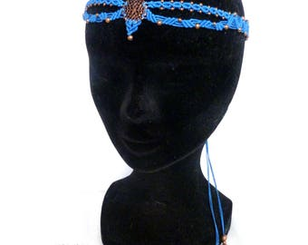 Head band macrame - ref: 0009 - shades blue and copper