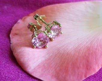10K Yellow Gold Bright Pink CZ Stud Earrings (st - 2066)