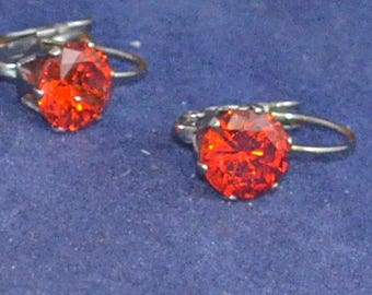 Red Zircon Leverback Earrings, 8mm Round, Natural, Set in Stainless Steel E1062