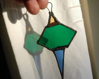 Hand made stained glass Christmas tree decoration