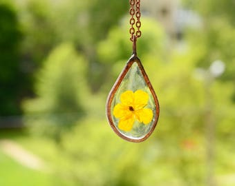 drop terrarium necklace, flower boho pendant, delicate necklace, resin summer jewelry, nature lovers gift