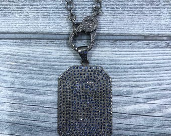 Sterling Silver Chain with Pave Diamond Lonster Claw.  Sapphire Dogtag Pendant