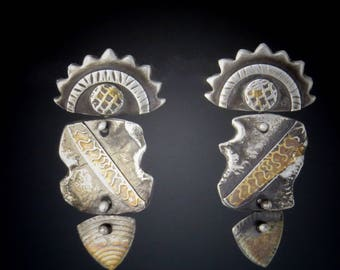 Silver and Gold Archaeological Earring