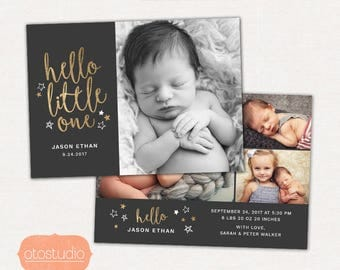 Birth Announcement Template - Baby Newborn Photoshop Card for Photographers - Hello Little One Black CB086 5x7 card - INSTANT DOWNLOAD