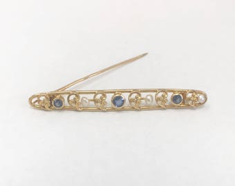 Antique 1920's Bar Pin with Sapphires & Pearls / 14k