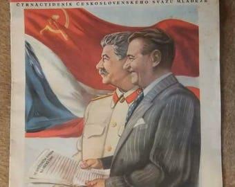 Vintage Propaganda Magazine Mlada Vesnice Czechoslovakia March 1954 Stalin Gottwald Vitkov Mausoleum Communism Jiri Havel Poem