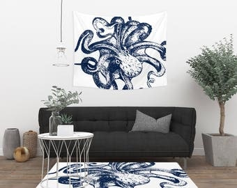 Octopus Rug - Navy and White - Floor Rug - Available in 3 Sizes