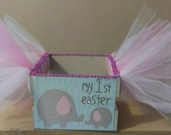 My first Easter Tutu Basket. Use as a bow holder, catch all basket. Pink and Grey Elephants Wooden Crate