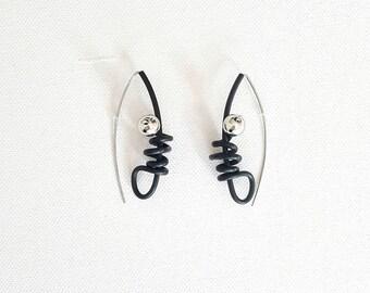 Contemporary earrings Rubber earrings Long earrings Gift for her Modern earrings Black earrings Statement earrings Dangle earrings