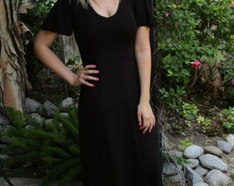 Maxi Dress, Hippie Dress, Black Maxi Dress, Boho dress, Maxi, Black Dress, Long Dress, SOLID BLACK, S M L XL 2X, V Neck, Loose Sleeve