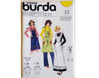 UNCUT Burda #88994 Vintage 70's Apron Pinny Pattern 3 Options and Headscarf Sewing Pattern One Size Fits All