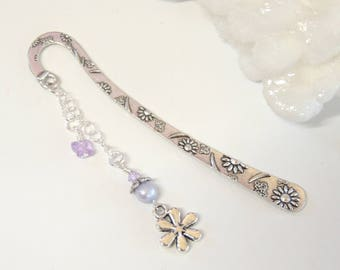 Flower Bookmark, Handmade Bookmarks, Metal Bookmark, Page Saver, Stocking Stuffer, Office Gift, Teacher Gift