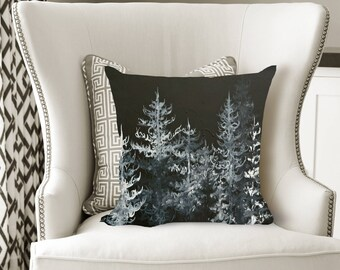 Black Forest Decorative Pillow, Soft Velveteen Nature Decor printed from Original Art - multiple sizes