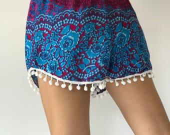 PP0120 Pom pom Shorts Beach Summer pants Freshy pants Fashion short Chic Clothing Aztec Ethnic Bohemian Ikat Boxers Short Pants Unique