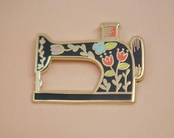 Sewing Machine (Black) Enamel Pin // Hard Enamel - Enamel Pin - Pin - Lapel Pin - Flair - Brooch - Collar Pin - By Justine Gilbuena