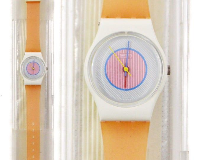 Vintage 80s Swatch Swiss Quartz Watch Raspberry LW107 Pop Art New Wave Wristwatch with Case