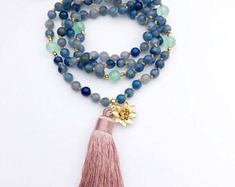 Valentines Gift, Prayer Beads, Mala Necklace, Knotted Mala Beads, 108 Mala Beads, Mala Beads, Strength Mala, Yoga Necklace, Mala, MKBA
