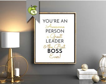 Best boss ever, boss day, Retirement gift, awesome boss, black and gold, awesome person, boss appreciation, christmas, Boss week, Printable