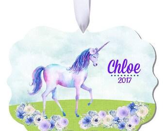 Unicorn Ornament, Unicorn Christmas Ornament, Personalized Unicorn Ornament, Unicorn, Personalized Ornament, RyElle, Christmas Ornament