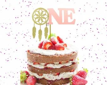 Dream Catcher ONE Glitter & Shimmer Cake Topper - Birthday cake Topper, Dream catcher cake topper, boho party, boho birthday, aztec birthday
