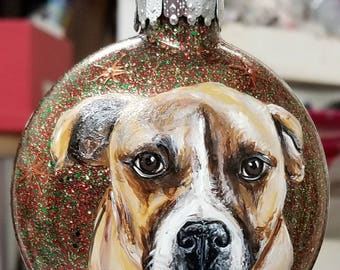Custom Pet Christmas Ornament - Hand Painted Glass Ornament