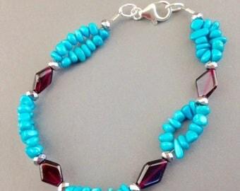 Sleeping Beauty Turquoise Bracelet - Garnet Bracelet - Turquoise Jewelry - Beaded Bracelet - Gemstone Jewelry -  Turquoise - Garnet Beauty