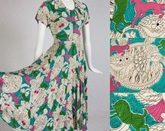 1940's Mythical Creatures PANTHER & Green ZEBRA w/ Ornate Spade Shaped Foliage/Flowers Novelty Print Bias Cut Rayon Swing Dress - *RAWR*!
