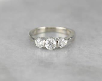 Three Diamond White Gold Engagement Ring, Past Present Future AE8X8A-N