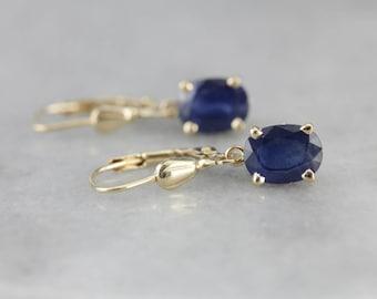 Oval Sapphire Drop Earrings, Classic Drop Earrings, Bridal Jewelry DCX92K-R