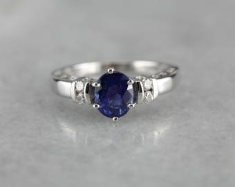 Sapphire and Diamond Ring, Sapphire Engagement Ring, Anniversary Ring UHRP9W1A-N