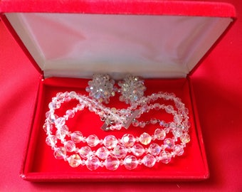 Vintage Glass Beads & Earring Set-Estate Jewelry