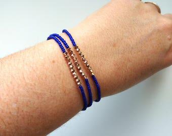 Set of 3 bracelets,royal blue and rose gold, seed bead with Swarovski,elastic,stretchy bracelet,minimalist,bridesmaid gift,stacking bracelet