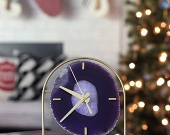 PRE-ORDER Ultra-Violet Agate Clock,Editor's Picks,Modern Ultra-Violet/Purple/Amethyst Boho Agate Clock,Desk Clock,Pantone Color of the Year
