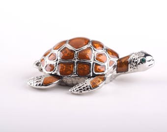Brown Sea Turtle Faberge Style Trinket Box Decorated with Swarovski Crystals Handmade by Keren Kopal