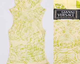 GIANNI VERSACE COUTURE  Baroque / Medusa Print Green & Yellow Cowl Neck Blouse