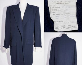 CHRISTIAN DIOR BOUTIQUE Navy Blue Wool Coat with Silk Lining