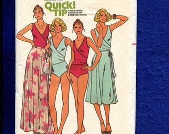 1970's Butterick 6148 Bodysuit with Deep V Neck & Wrap Front Bodice and Flared Wrap Skirt Size 16