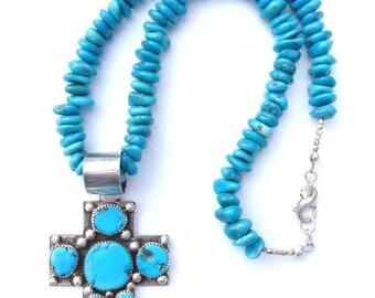 Sleeping Beauty Turquoise Necklace, Vintage Native American Turquoise Cross Pendant, Sleeping Beauty Turquoise Cross, Native American Cross