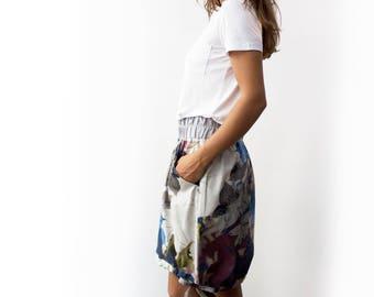 Cotton skirt,  High low skirt, Drawstring skirt, Asymmetrical skirt, Skirt with pockets, Women skirt