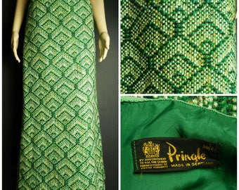 60s 70s Pringle of Scotland speckled WOOL tweed fitted high waist maxi skirt green gold cream and brown U.K. 6 - 8 SM XS