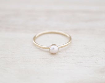 Tiny pearl ring, pearl ring, gold pearl ring, dainty pearl ring, pearl stacking ring, hammered pearl ring, pearl jewelry
