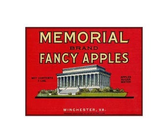 Memorial Fancy Apples Virginia Vintage Poster Print Retro Style Fruit Crate Label Free Us Post Low EU & CA Post Buy 3 Get 1 Free